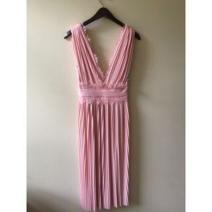 a893e2472b836 ASOS Dresses | Lace Insert Pleated Midi Dress Blush | Poshmark